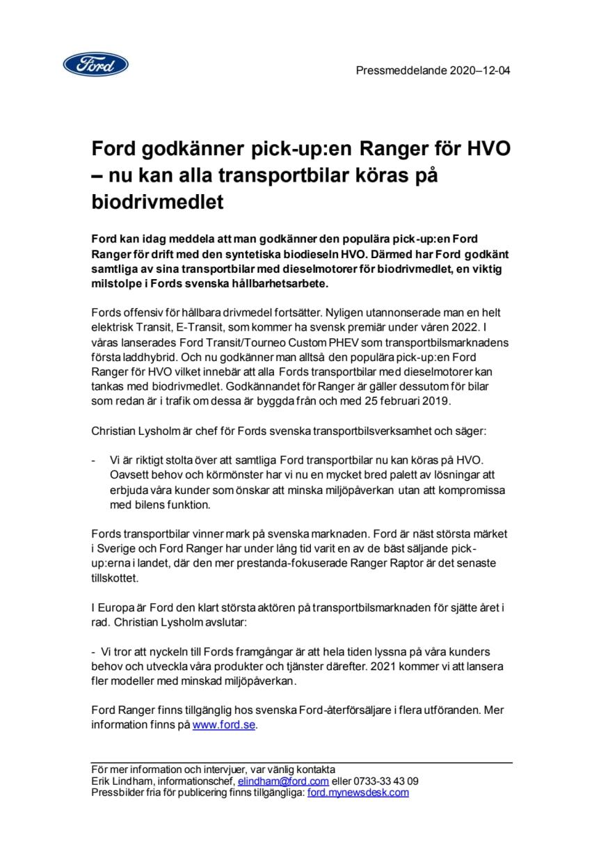 Ford godkänner pick-up:en Ranger för HVO – nu kan alla transportbilar köras på biodrivmedlet