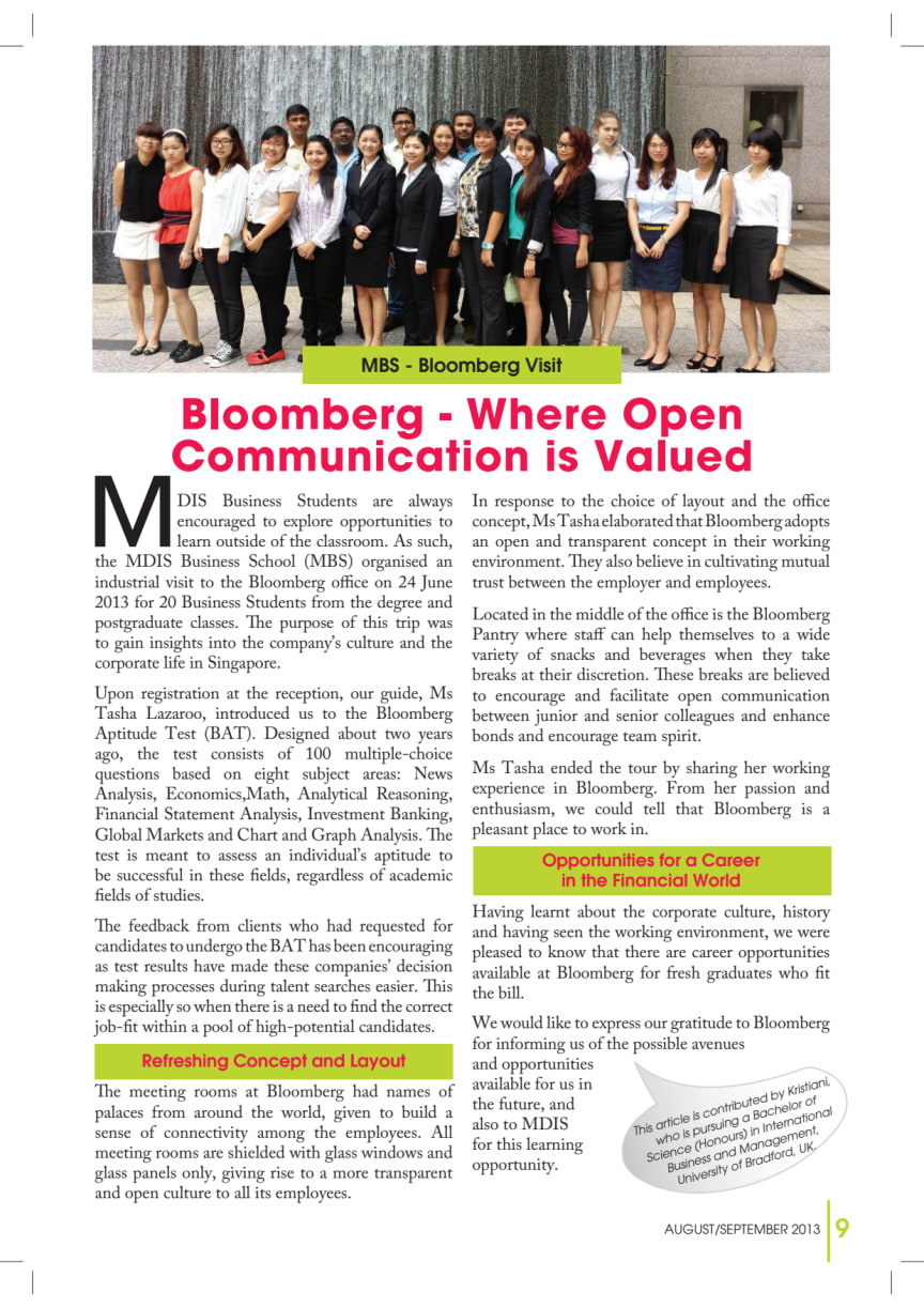Bloomberg - Where Open Communication is Valued