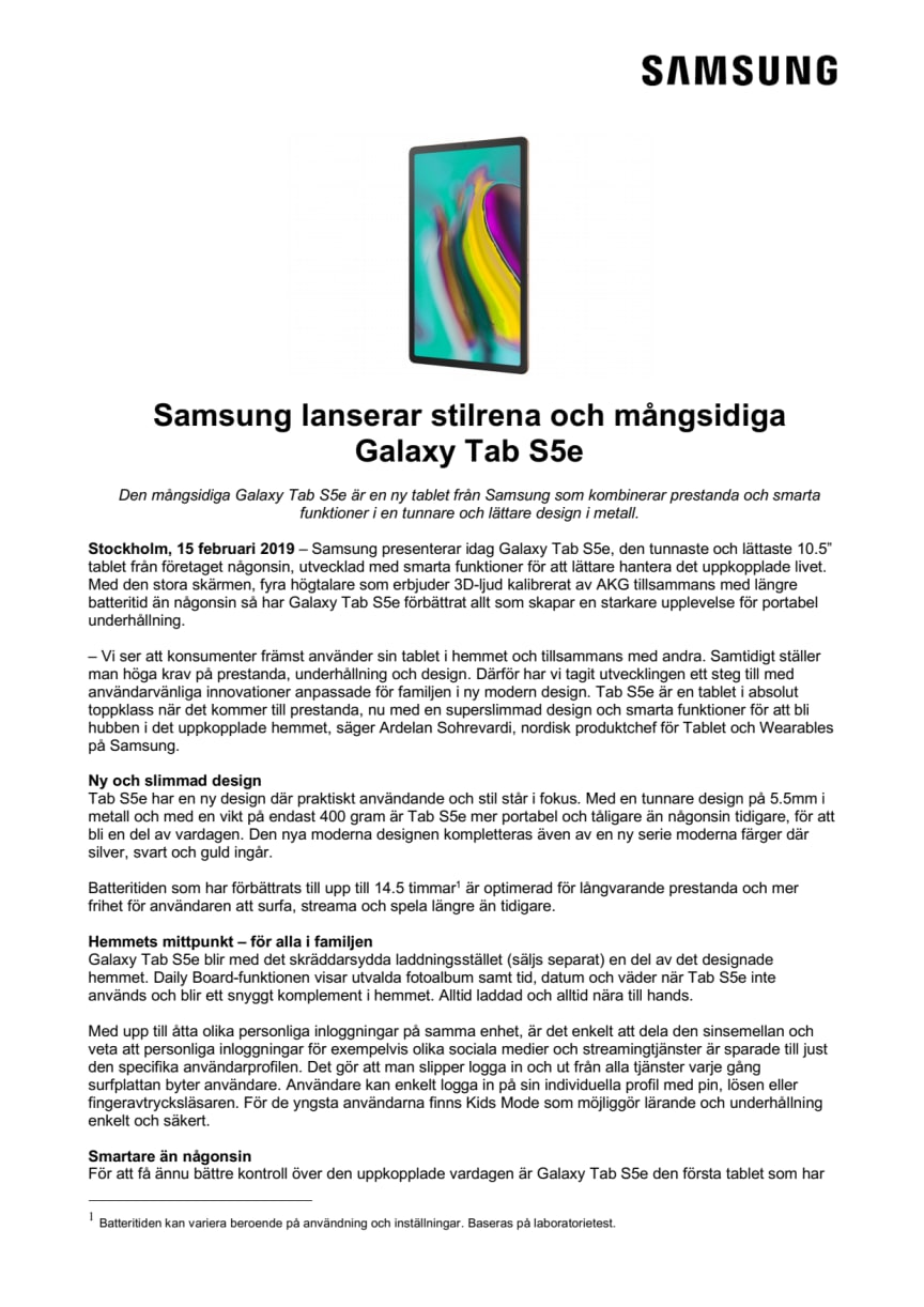 Samsung lanserar stilrena och mångsidiga Galaxy Tab S5e