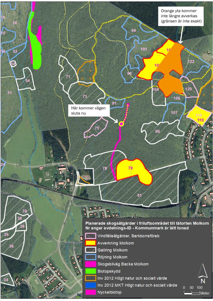 Karta över planerade skogsåtgärder i Molkom inklusive ändringar.