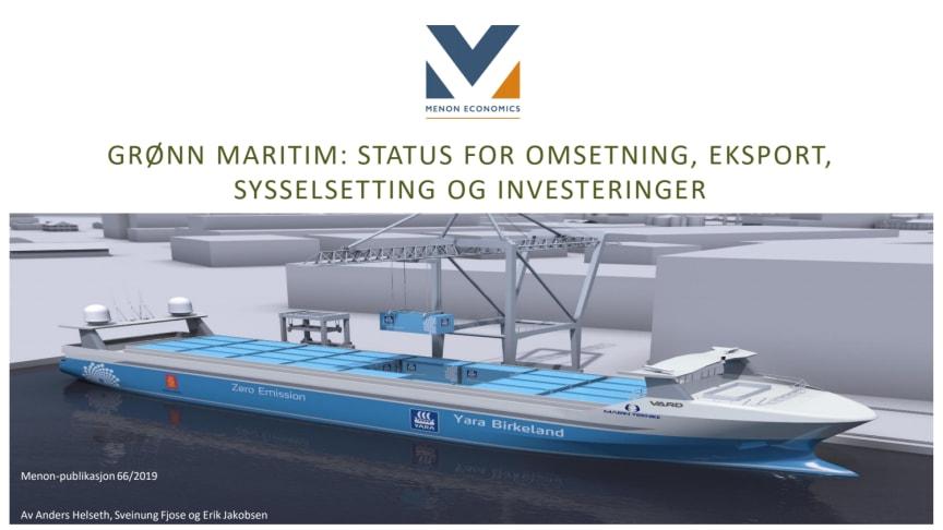 Rapport: Grønn Maritim - Status for omsetning, eksport, sysselsetting og investeringer