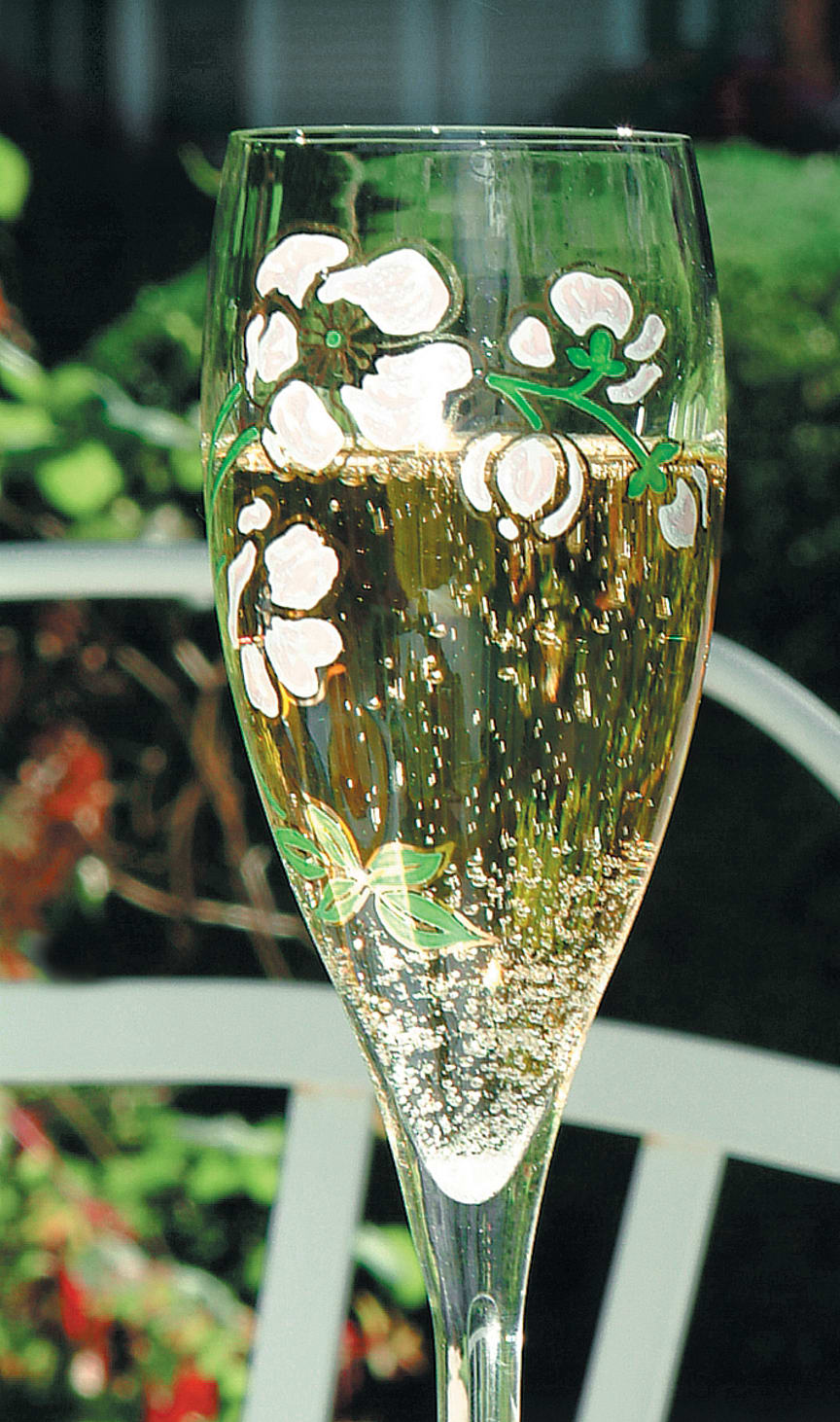 Belle Epoque håndmalte fluteglass