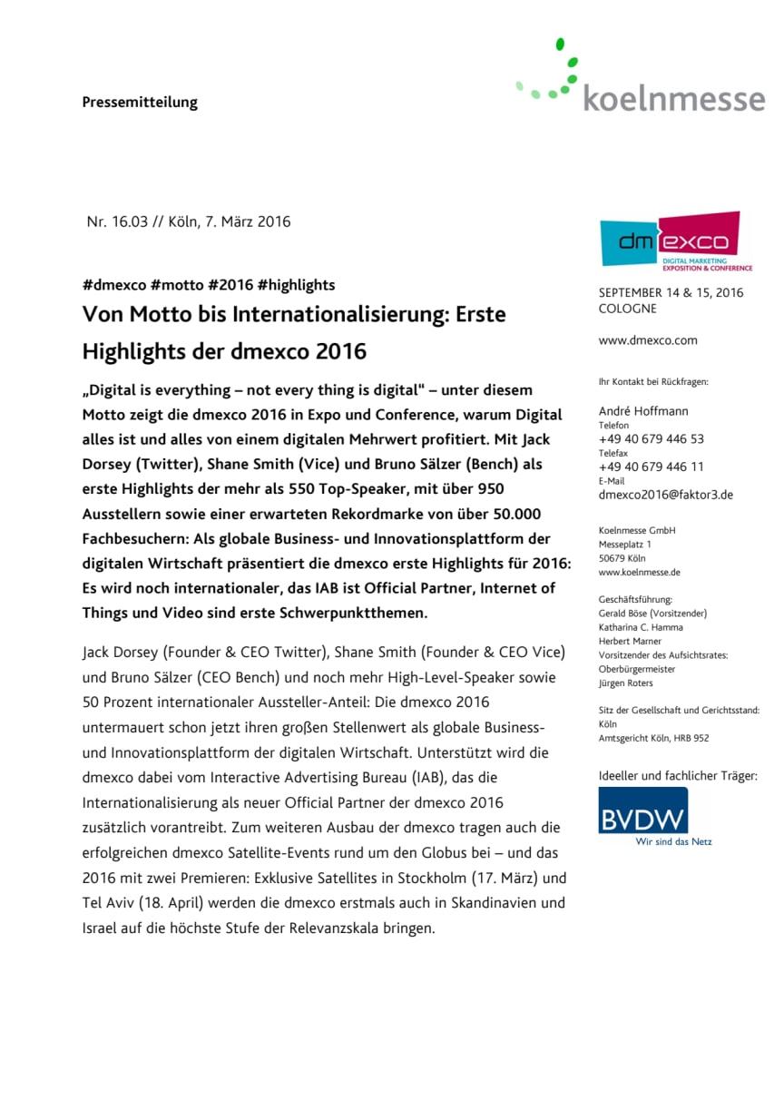 Von Motto bis Internationalisierung: Erste Highlights der dmexco 2016