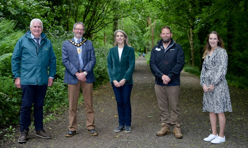 Mayor joined by John Joe O'Boyle of Forest Service, Lady Dunluce, Jim Marshall of Forest Service and Claire Duddy