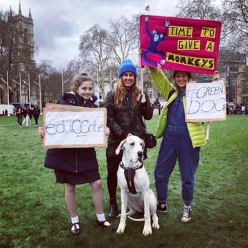 Schoolstrike Teachers And Child With Green Dog.jpeg