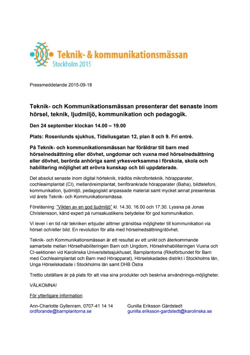 Teknik- och kommunikationsmässan i Stockholm