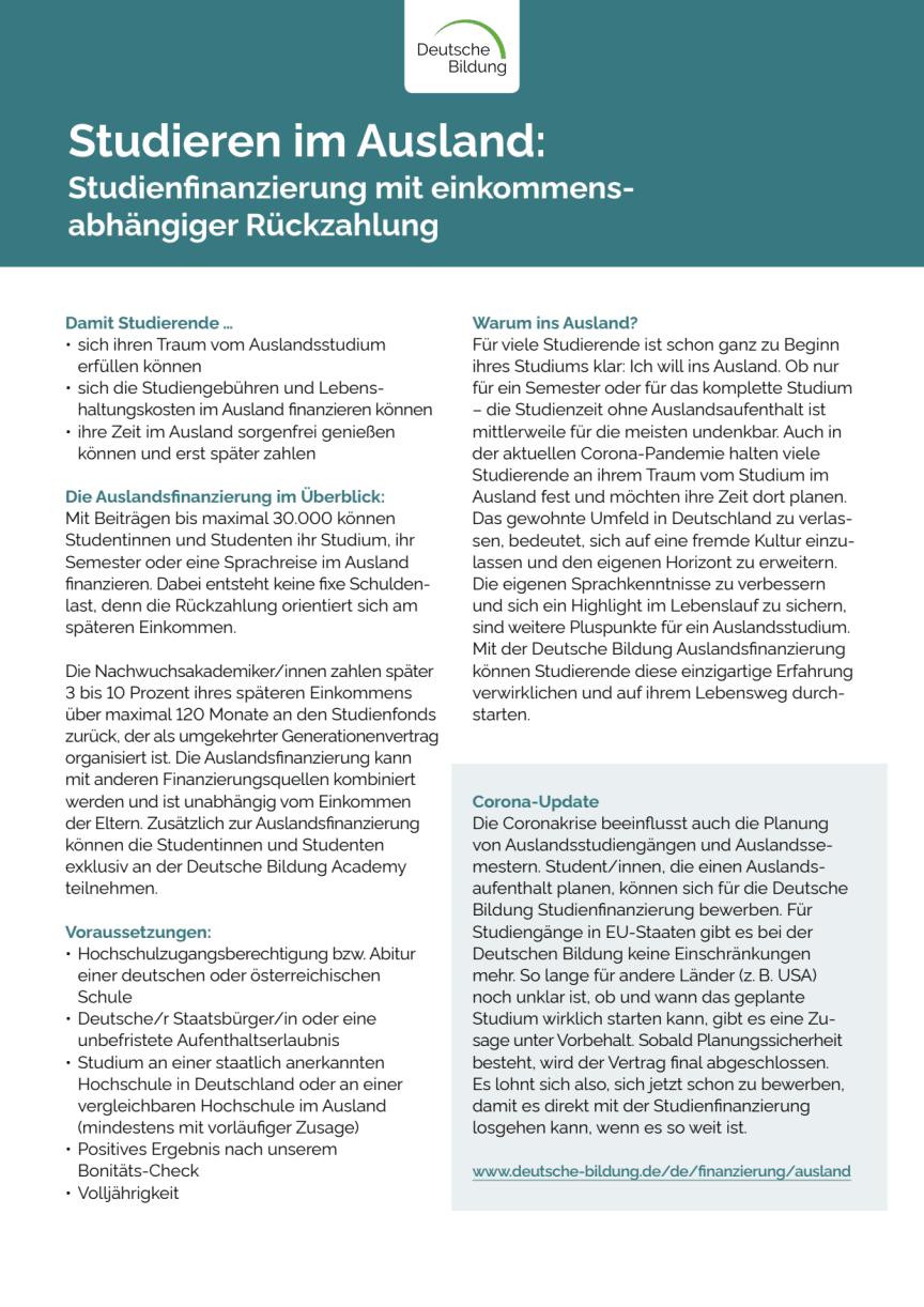 Deutsche Bildung Auslandsfinanzierung