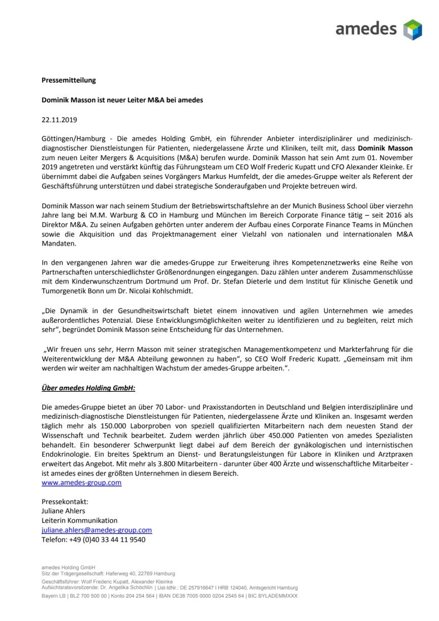 Dominik Masson ist neuer Leiter M&A bei amedes