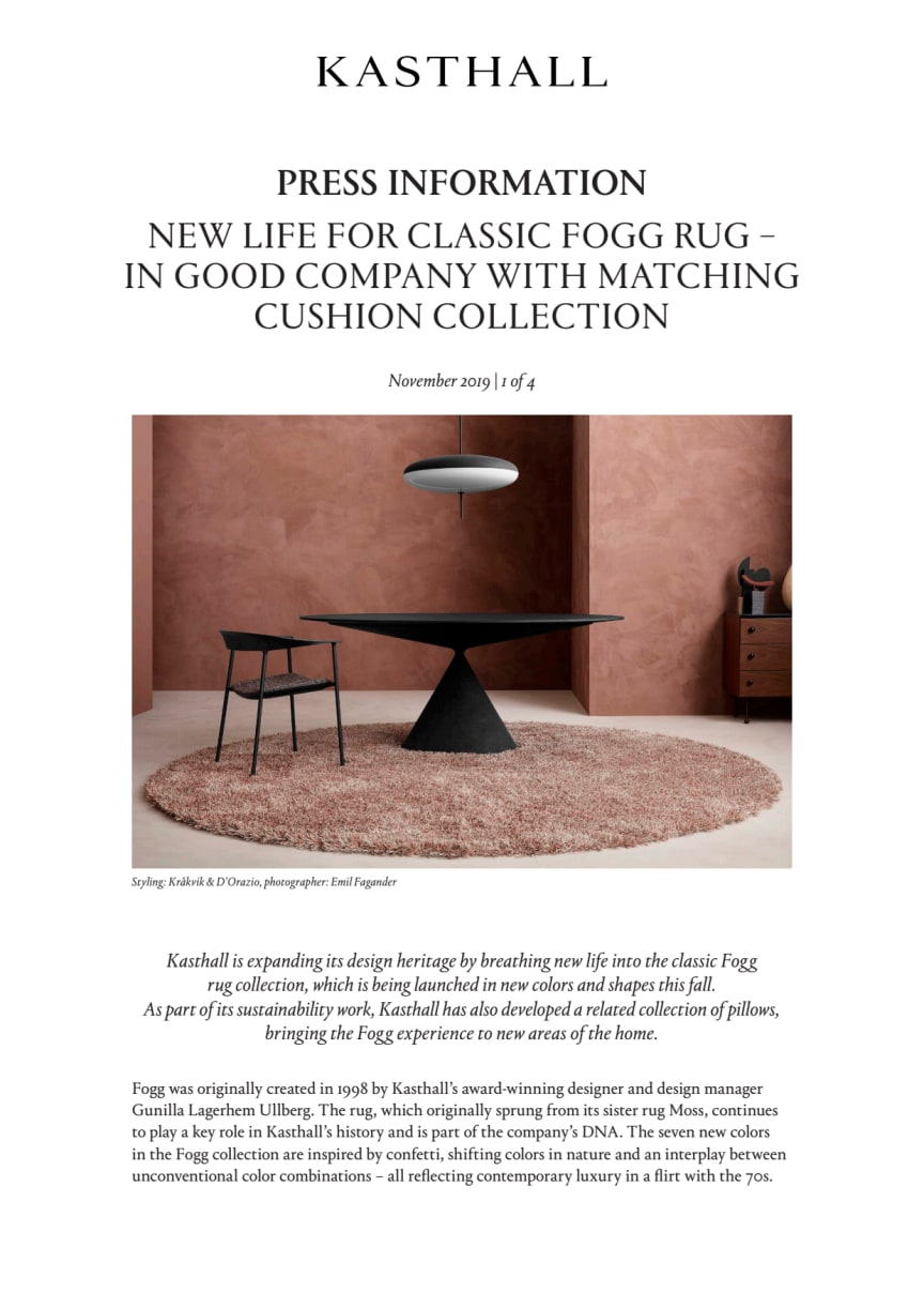 NEW LIFE FOR CLASSIC FOGG RUG – IN GOOD COMPANY WITH MATCHING CUSHION COLLECTION