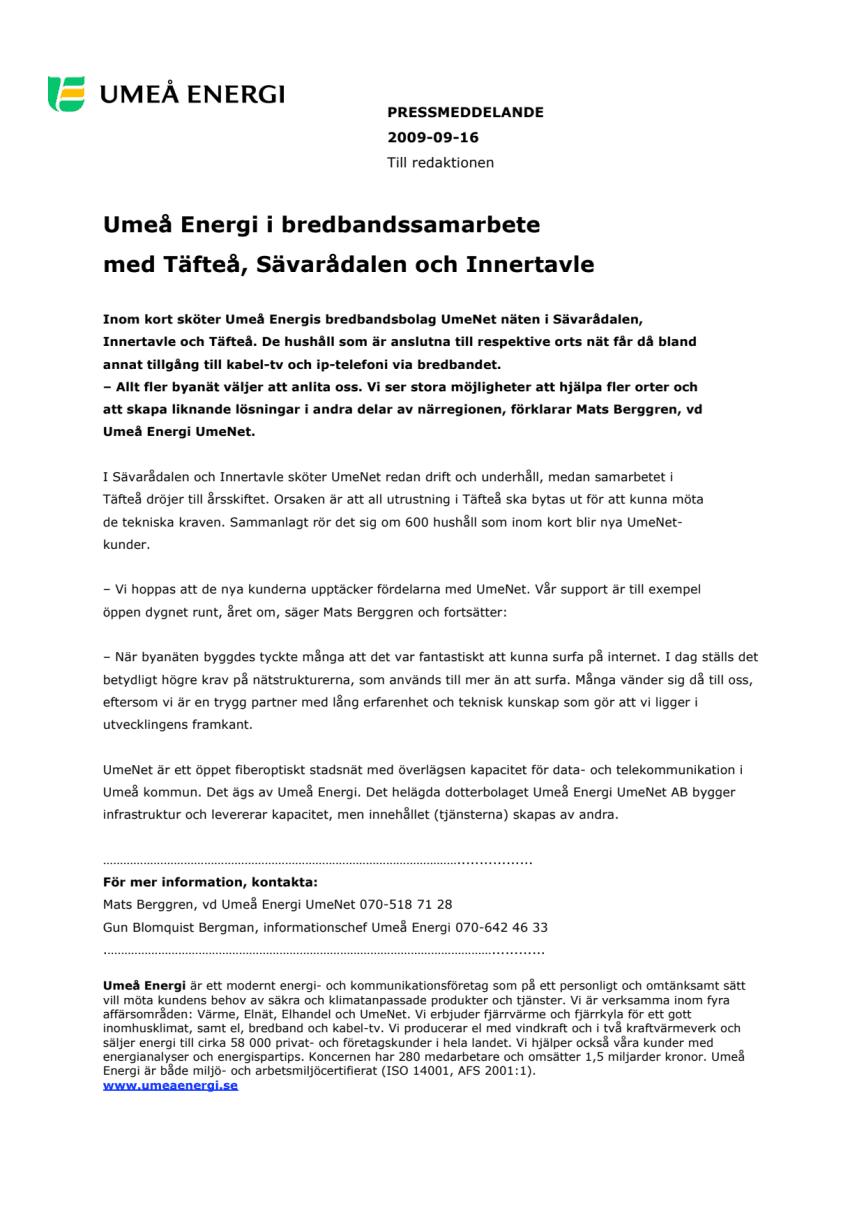 Umeå Energi i bredbandssamarbete med Täfteå, Sävarådalen och Innertavle