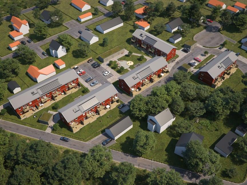 Översiktsillustration av det nya kvarteret BoKlok Mellstagården, Borlänge.