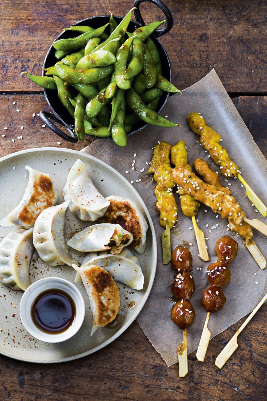 Japanska gyoza med grönsaker, kyckling yakitori, edamame med stark sås