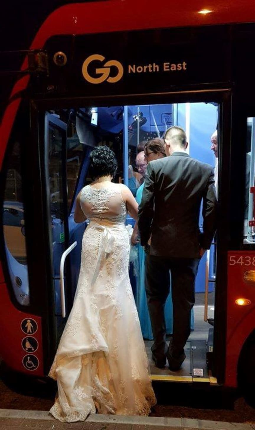 Kayleigh and Colin Thompson hop on Go North East bus