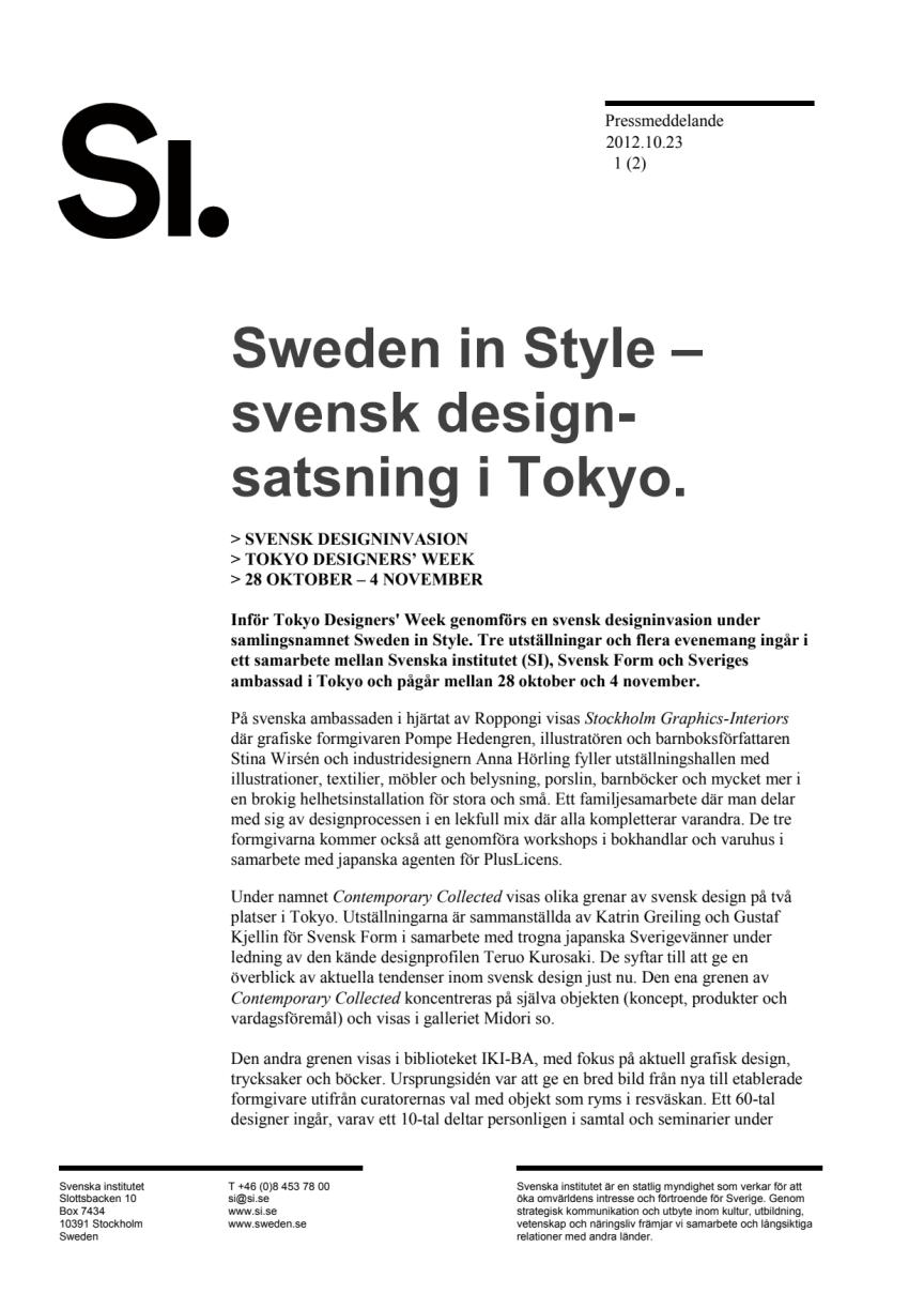 Sweden in Style – svensk designsatsning i Tokyo