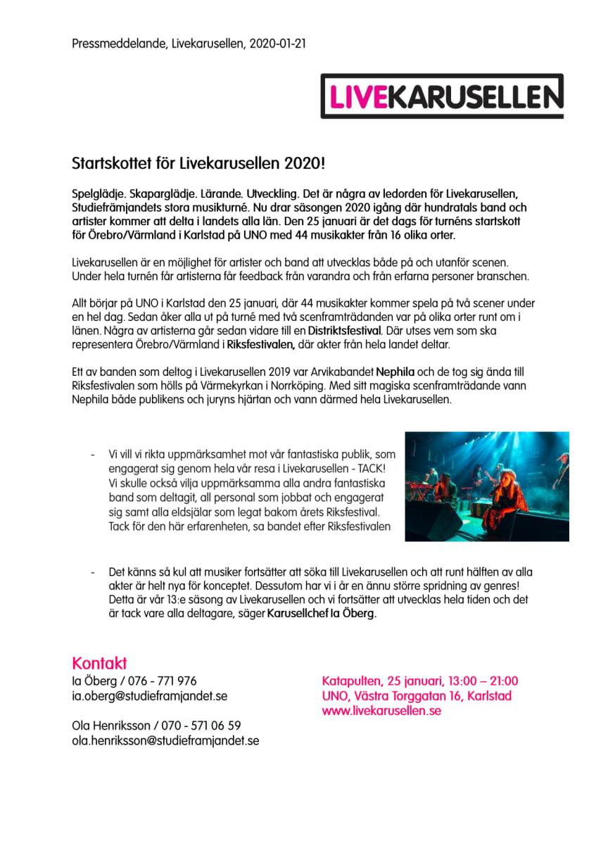 Startskottet för Livekarusellen 2020!