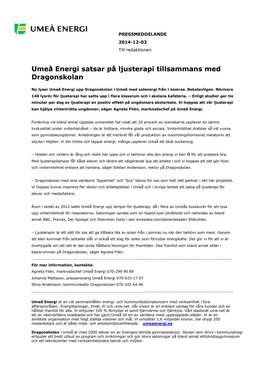 Umeå Energi satsar på ljusterapi tillsammans med Dragonskolan
