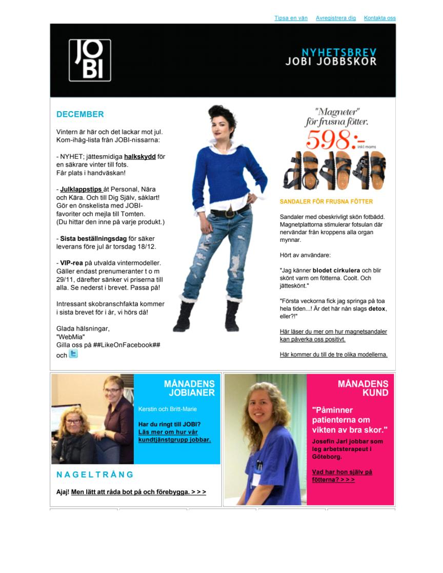 JOBI Jobbskor Nyhetsbrev december 2012