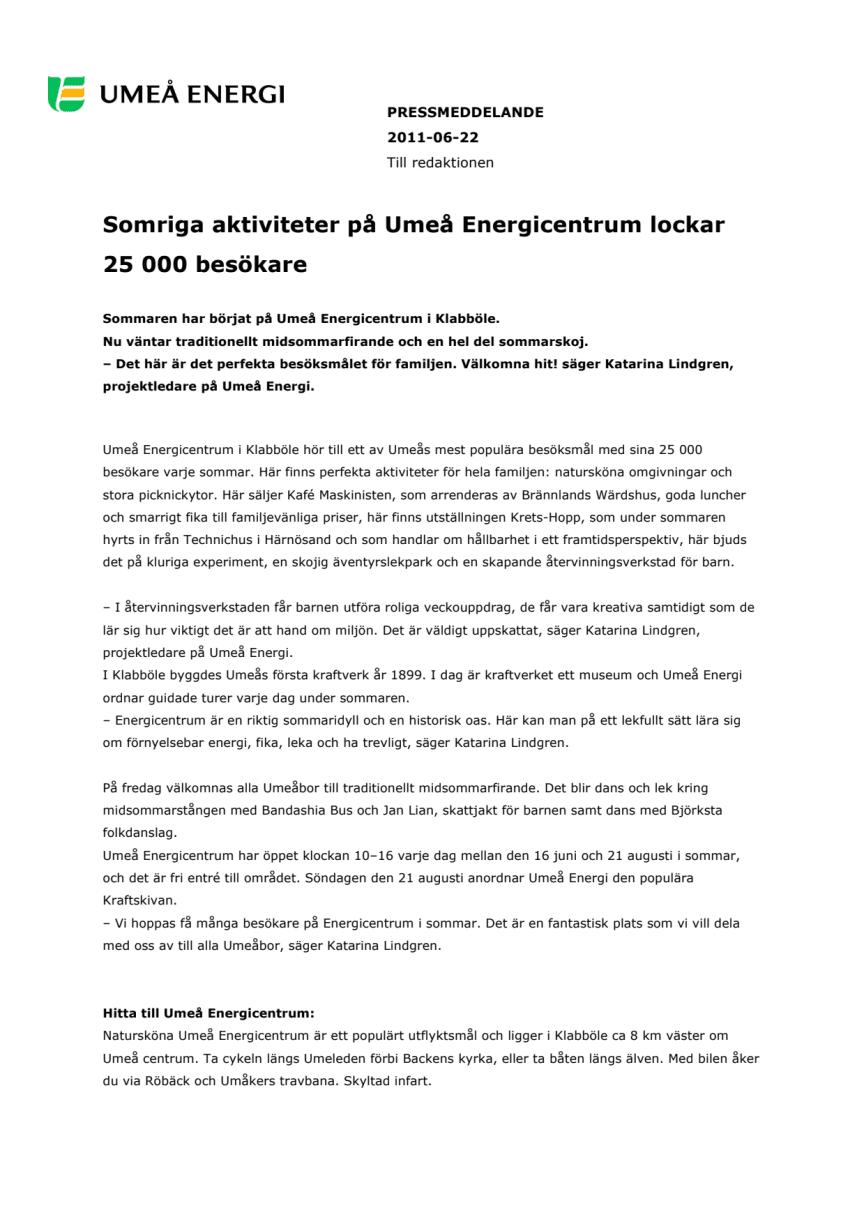 Somriga aktiviteter på Umeå Energicentrum lockar 25 000 besökare