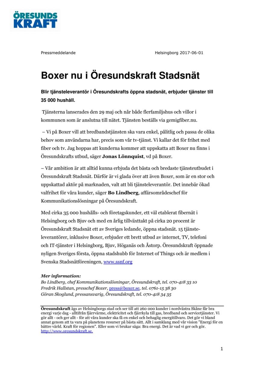 Boxer nu i Öresundskraft Stadsnät