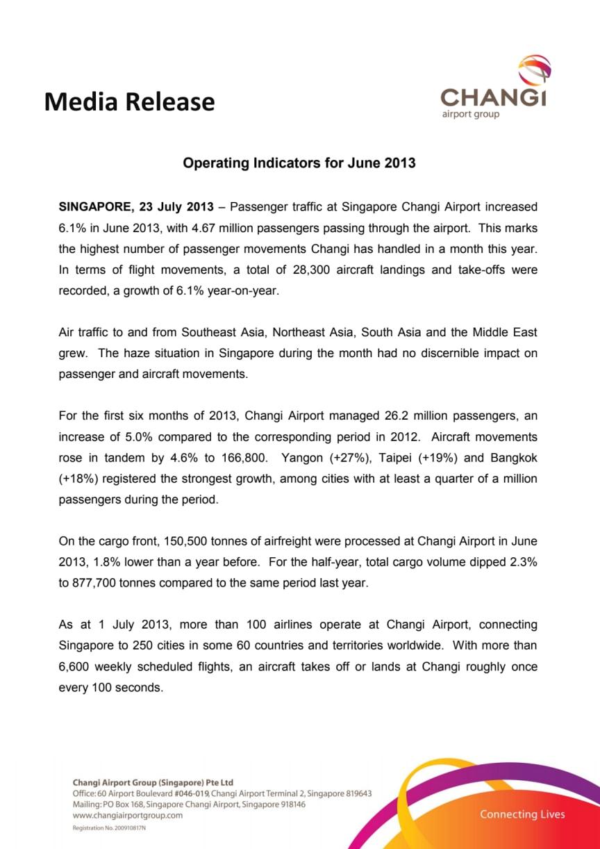 Operating Indicators for June 2013