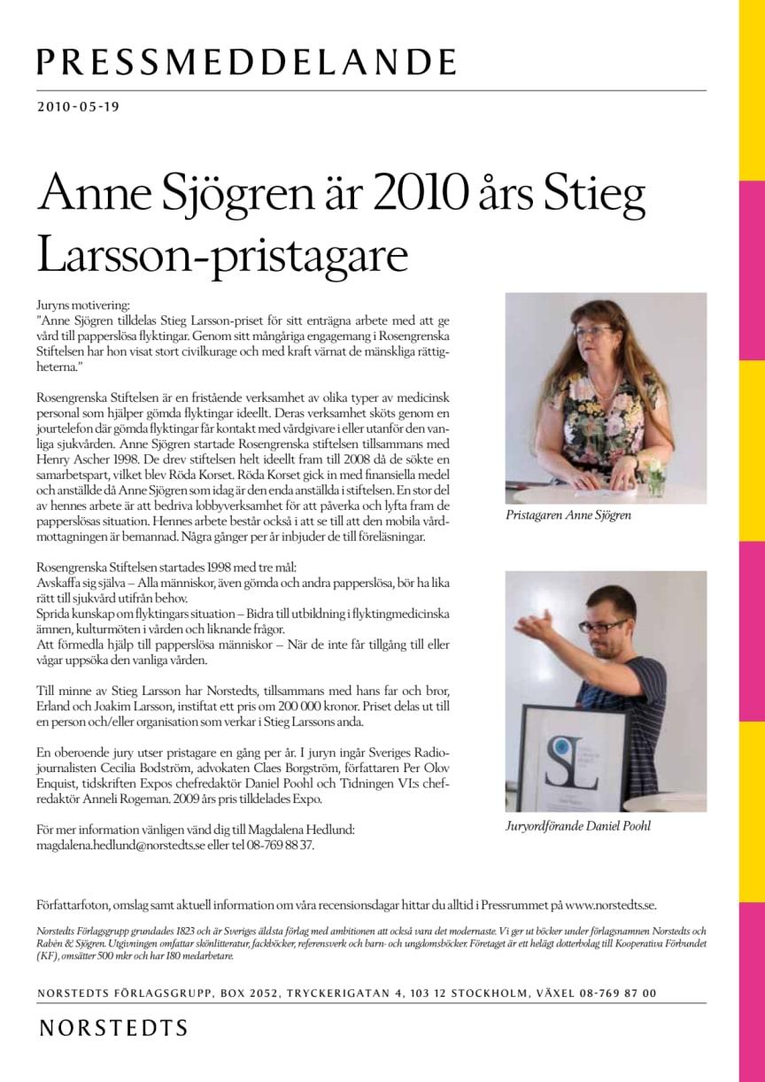 Anne Sjögren är 2010 års Stieg Larsson-pristagare