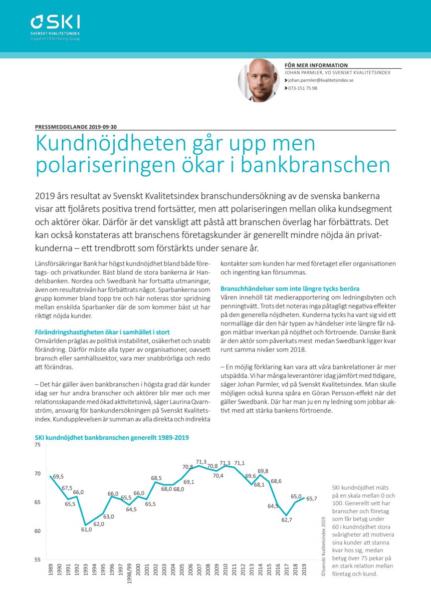 Svenskt Kvalitetsindex om bankbranschen 2019