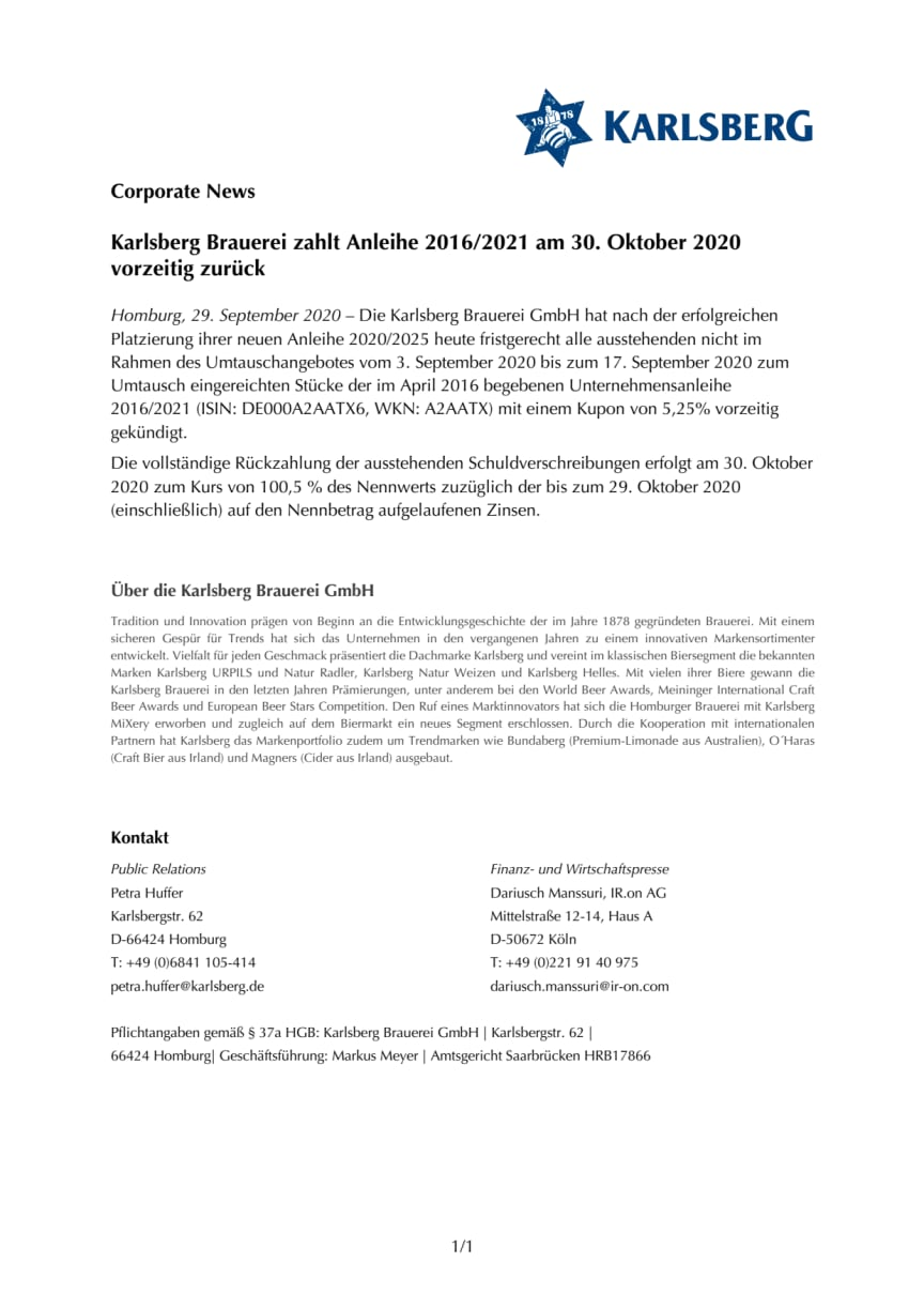Karlsberg Brauerei zahlt Anleihe 2016/2021 am 30. Oktober 2020 vorzeitig zurück