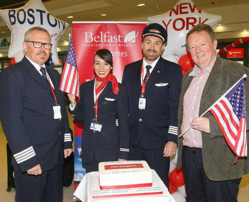 Lars Garde (Captain), Diana Menzes (Cabin Crew)  Robert Bjorkholm (Co-pilot) and Graham Keddie (MD Belfast International Airport)
