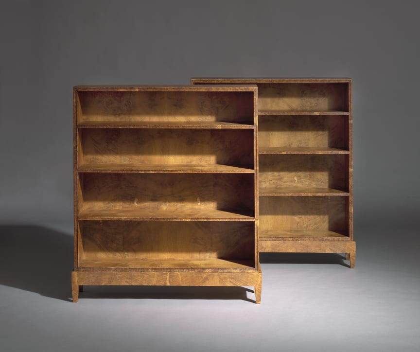 Kaare Klint: A pair of early and unique bookcases of oak burl.