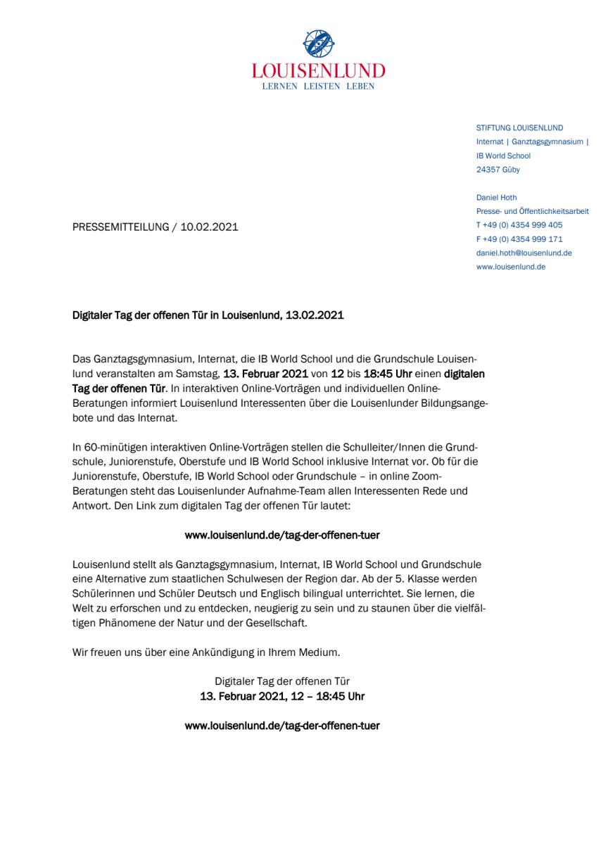 Digitaler Tag der offenen Tür in Louisenlund, 13.02.2021