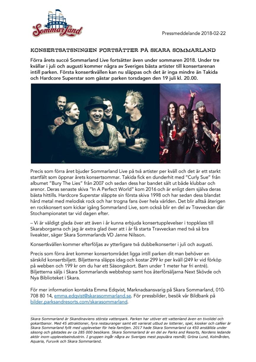 Konsertsatsningen fortsätter på Skara Sommarland