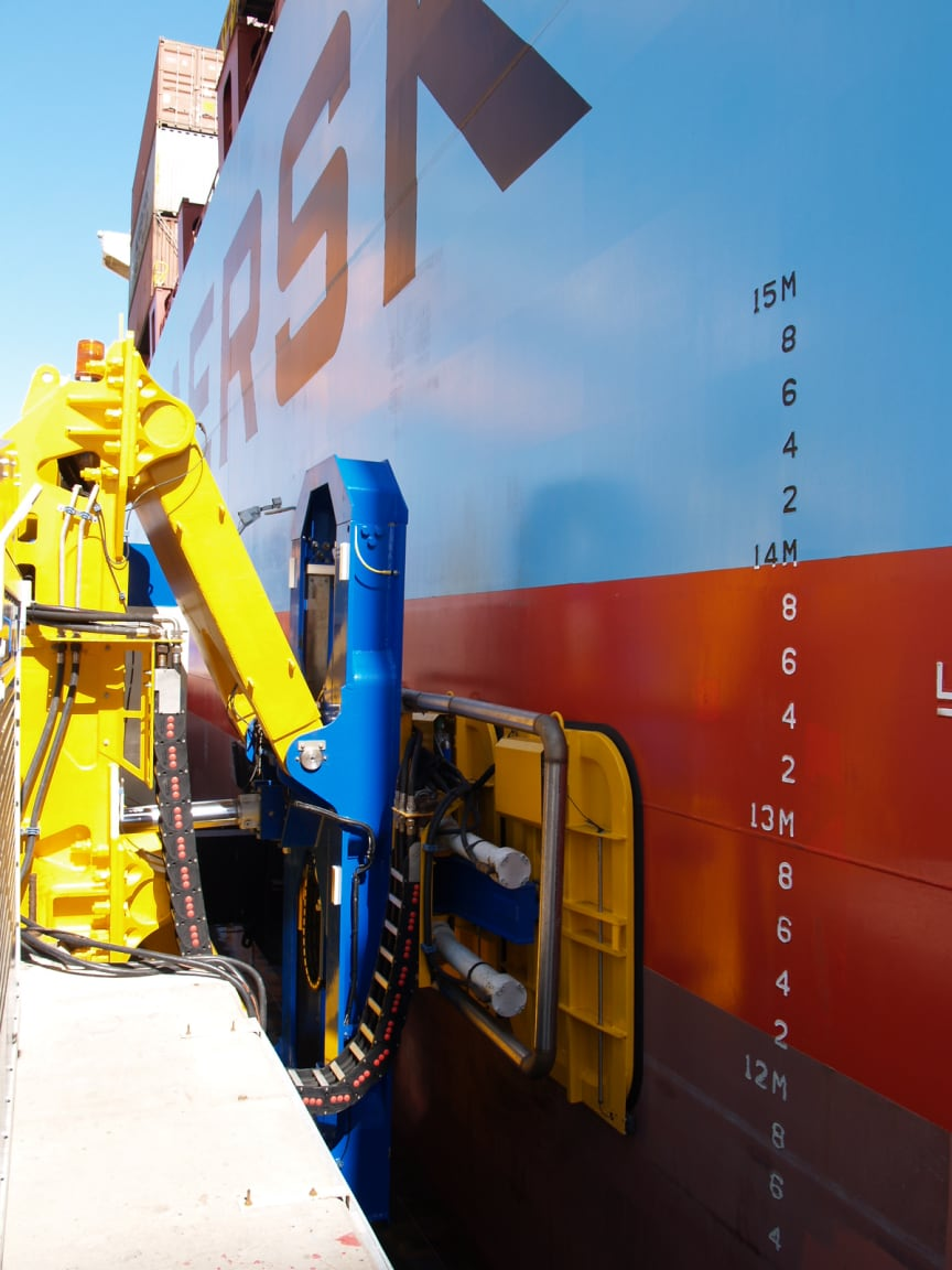A Cavotec automated mooring unit at Port of Salalah