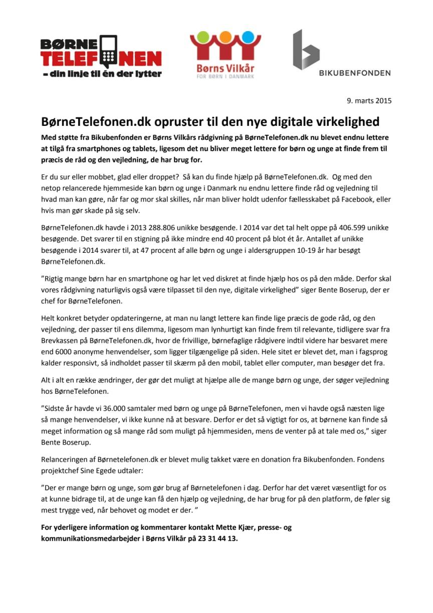 BørneTelefonen.dk opruster til den nye digitale virkelighed