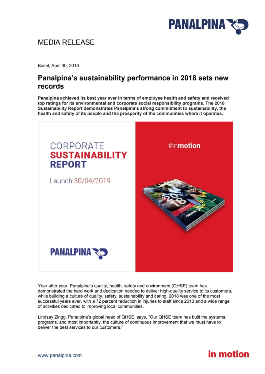 Panalpina's sustainability performance in 2018 sets new records