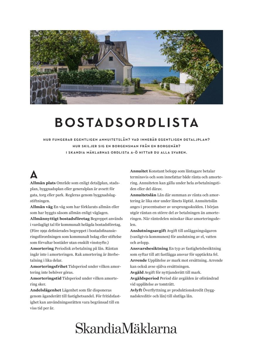 SkandiaMäklarnas Bostadsordlista från A-Ö