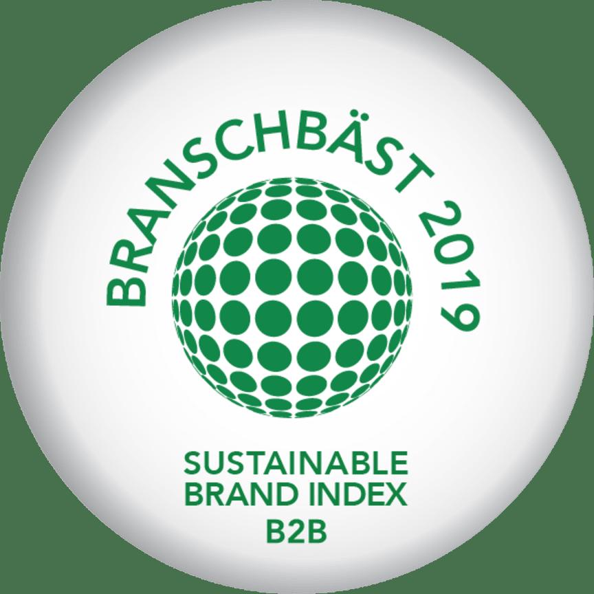 Riksbyggen branschbäst, Sustainable Brand Index B2B 2019.