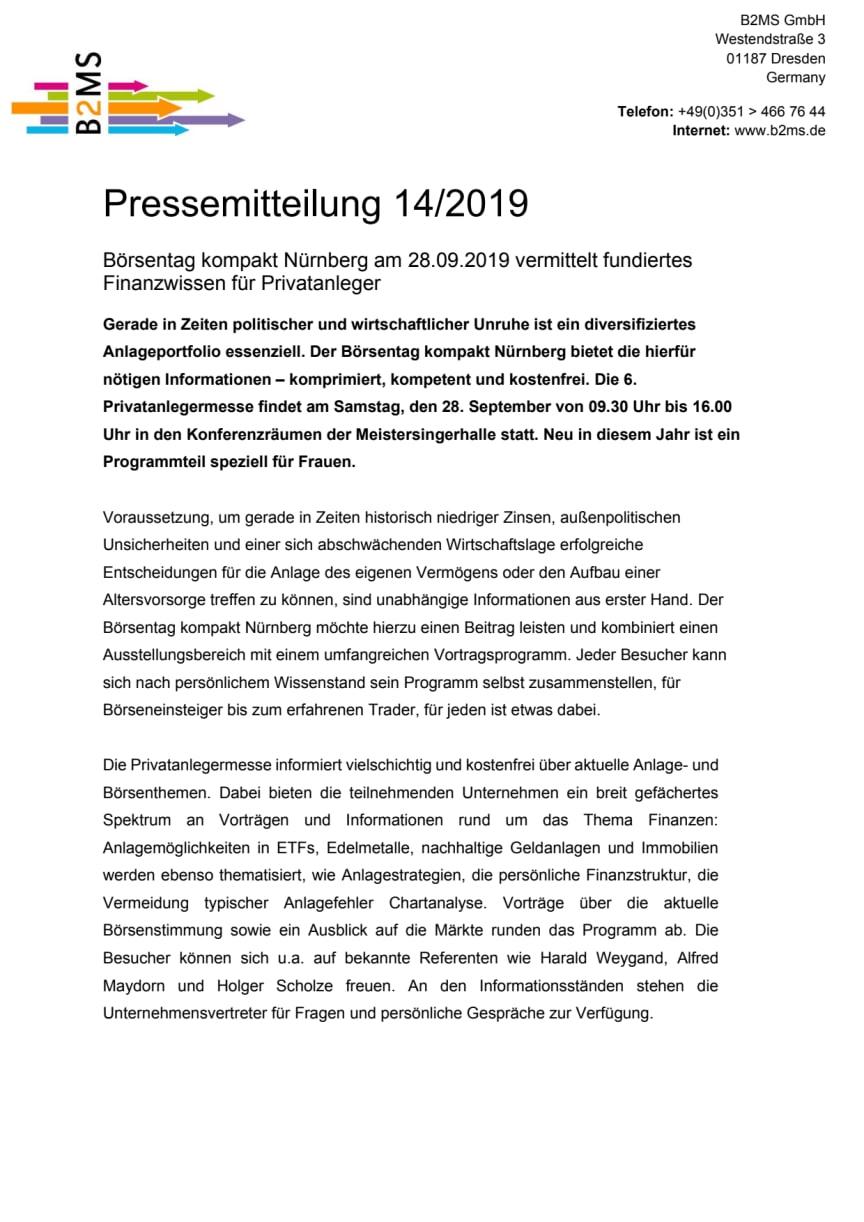 Unruhiger Herbst oder Jahresendralley? - Börsentag kompakt Nürnberg, 28.09.2019