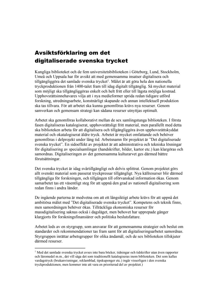 Avsiktsförklaring om det digitaliserade svenska trycket