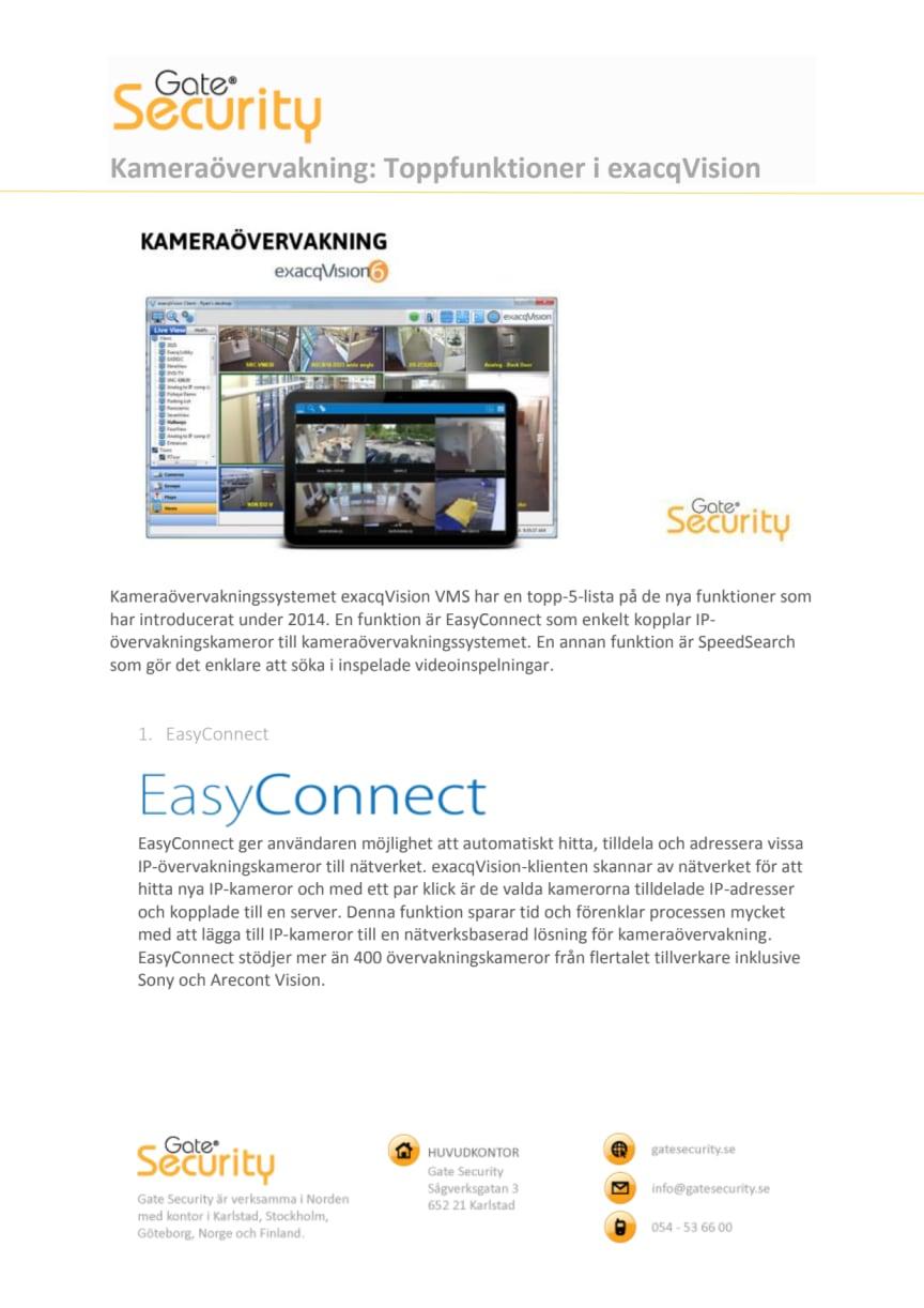 PDF: Kameraövervakning: Toppfunktioner i exacqVision