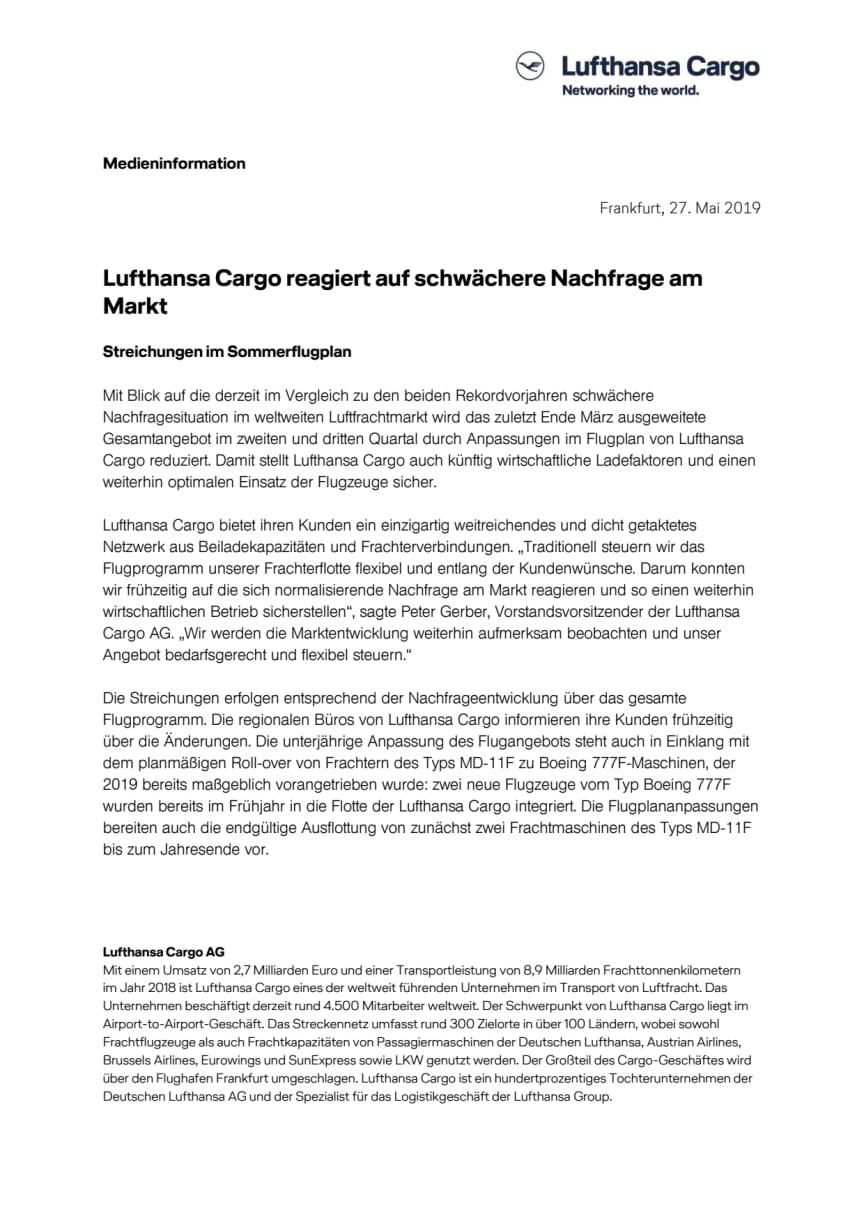 Lufthansa Cargo reagiert auf schwächere Nachfrage am Markt