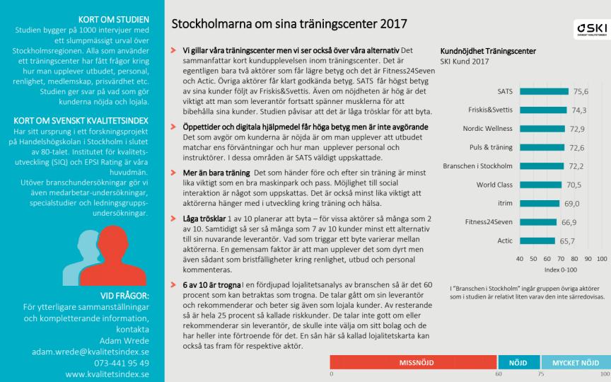 STOCKHOLMARNA OM SINA TRÄNINGSCENTER 2017