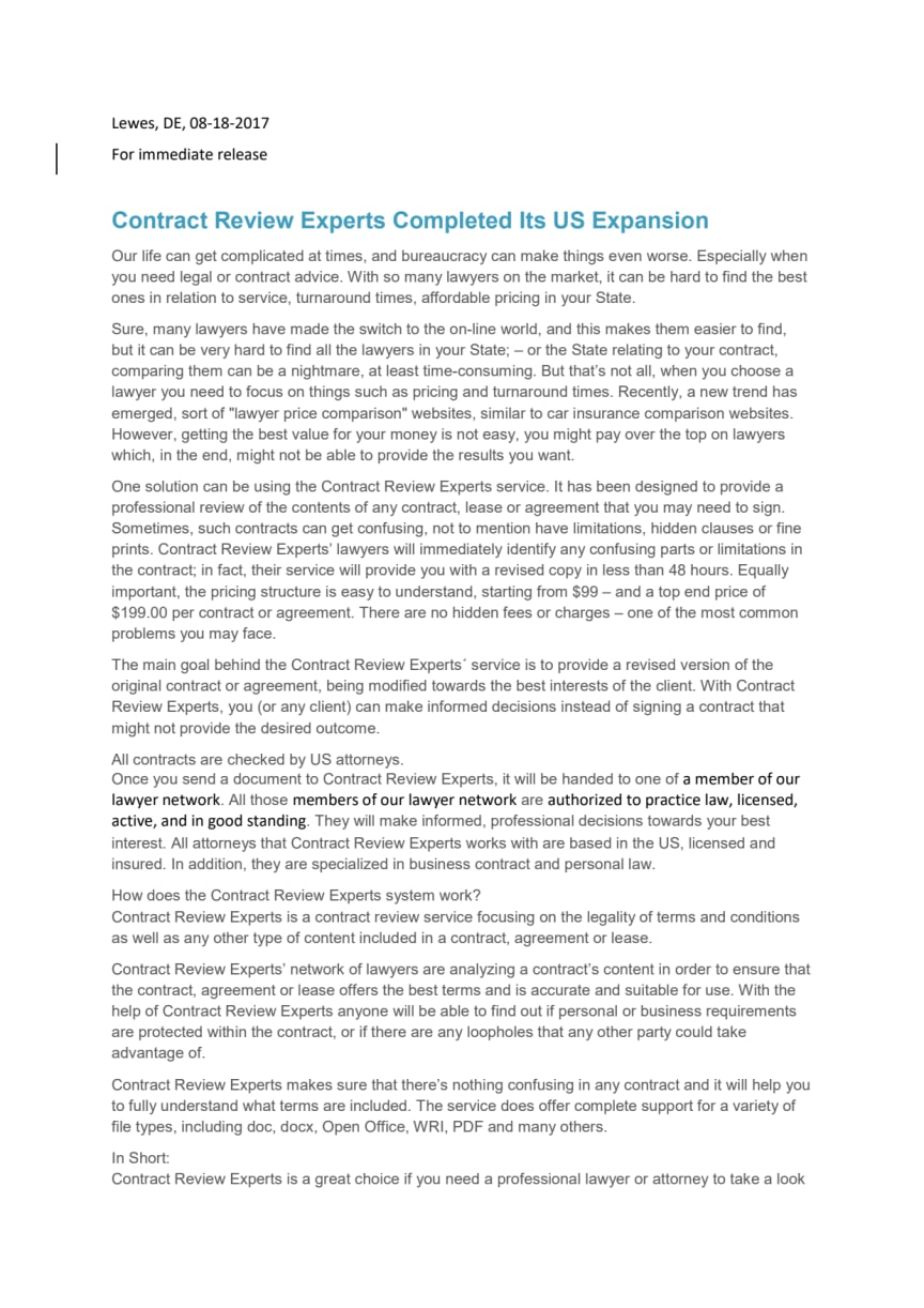 Contract Review Experts Completed Its US Expansion