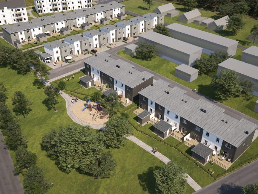 Översiktsillustration av de nya husen i BoKlok Piren, Errarp, Ängelholm.