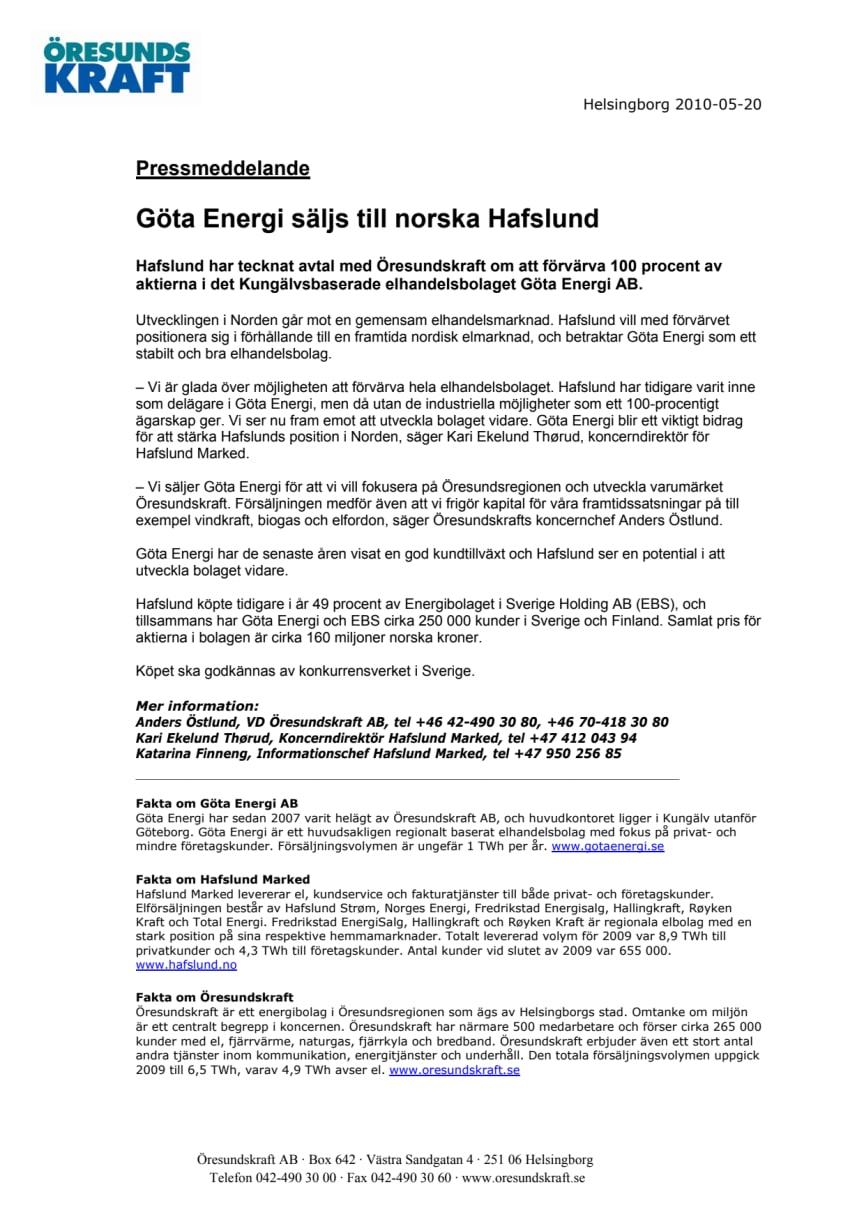 Göta Energi säljs till norska Hafslund