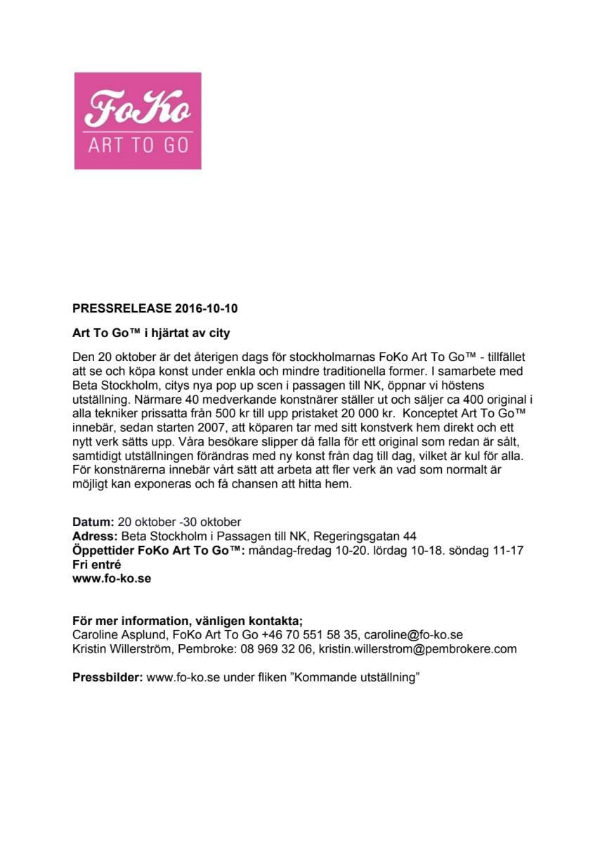 Art To Go™ i hjärtat av city