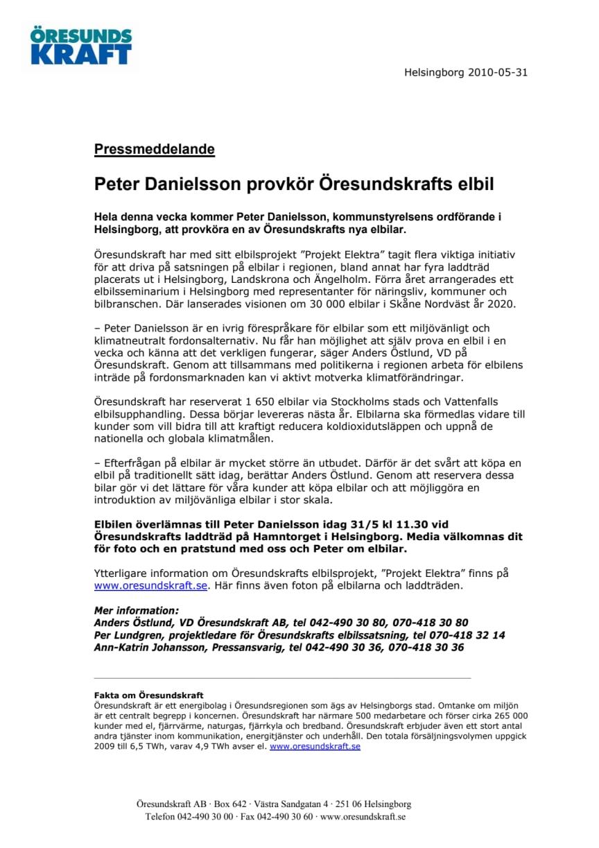 Peter Danielsson provkör Öresundskrafts elbil