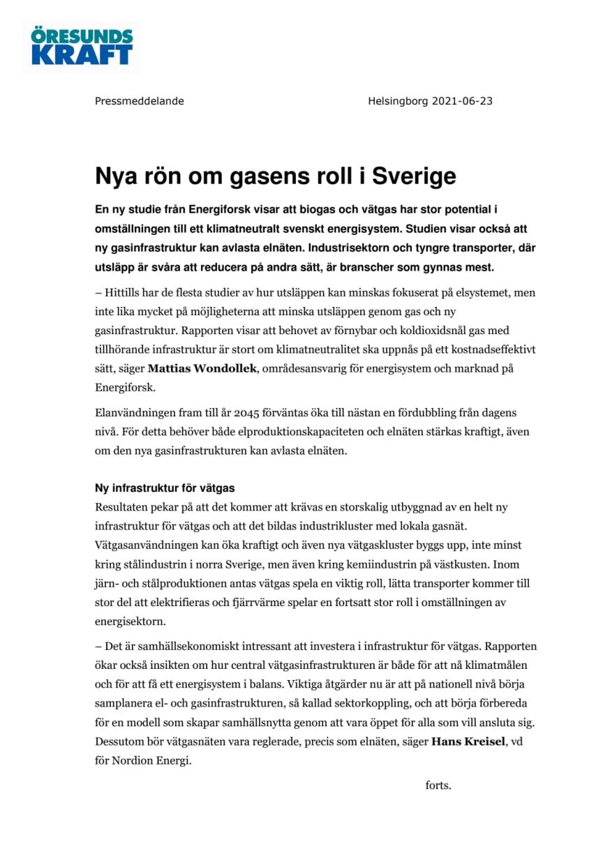 Nya rön om gasens roll i Sverige