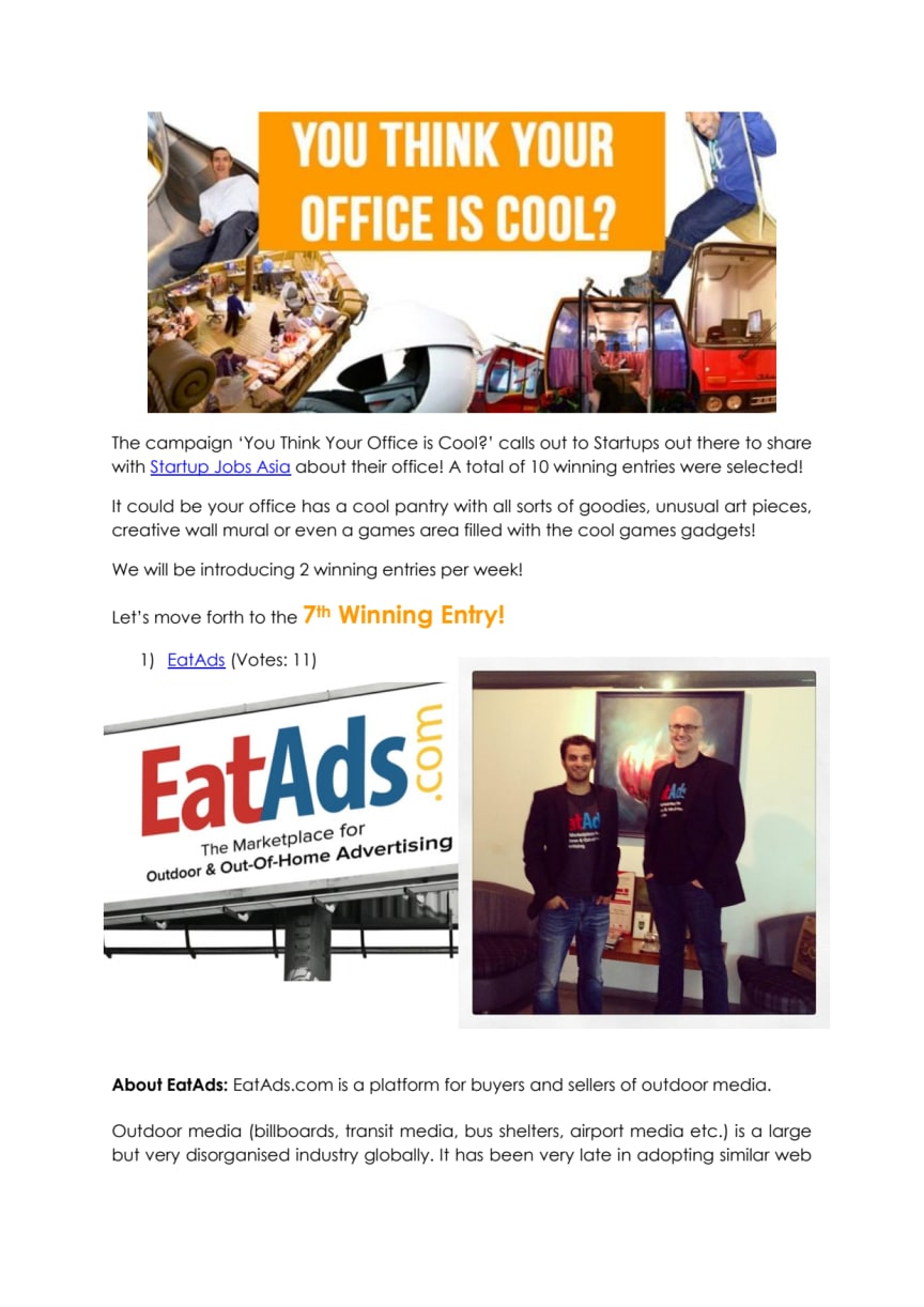 You Think Your Office is Cool - EatAds