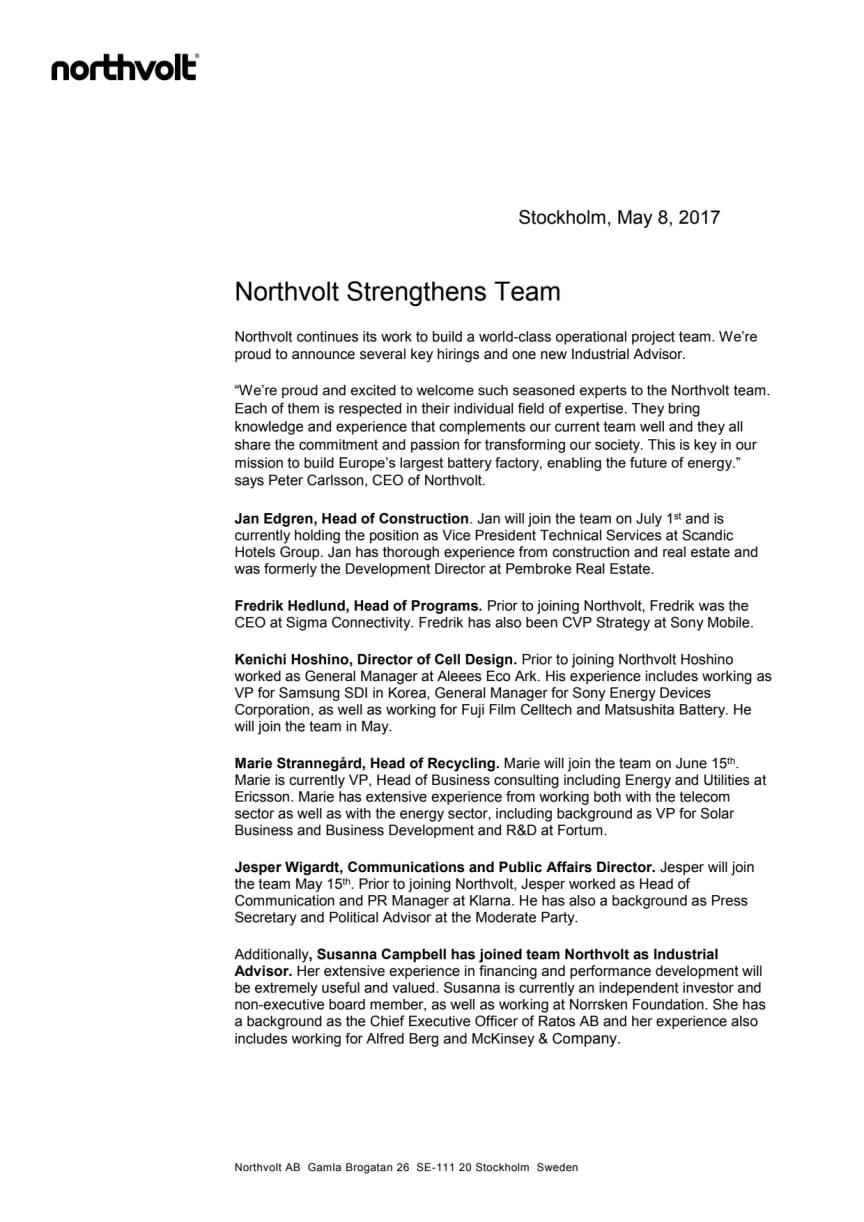 Northvolt Strengthens Team