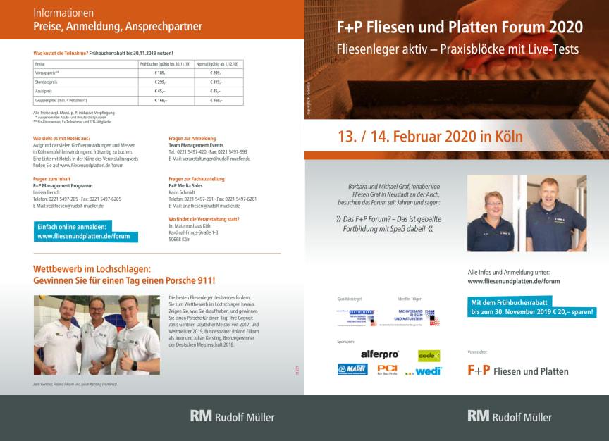 Flyer F+P Fliesen und Platten Forum 2020